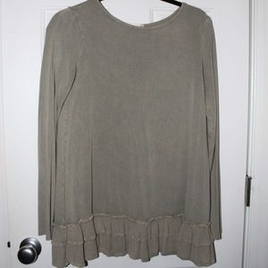 altar'd state olive green long sleeve shirt/dress